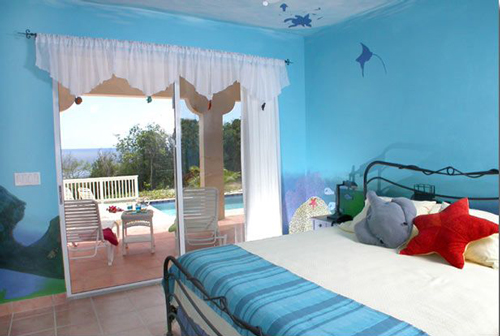 USVI St John rental villa Arco Iris Starfish bedroom with king bed, and private bathroom, overlooking the pool