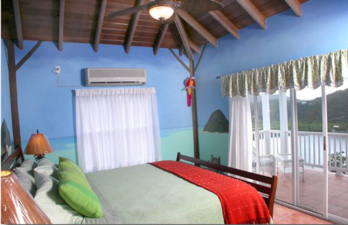 USVI St John rental villa Arco Iris StarFruit bedroom with king bed, and private bathroom