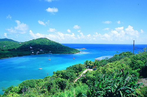 USVI St John rental villa Arco Iris scenic view over Fish Bay