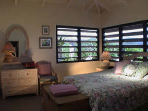 St John USVI Vacation Rental Soft Winds master bedroom with queen bed