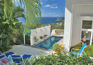 St John Villa Sea Turtle Private Pool And Outdoor Seating Area On Two  Tiered Deck With