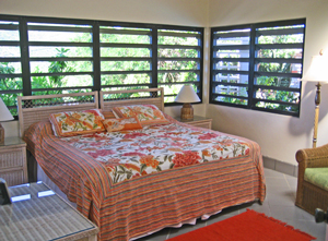 St John USVI Vacation Rental Soft Winds second bedroom with colorful decor and breezy bright  views