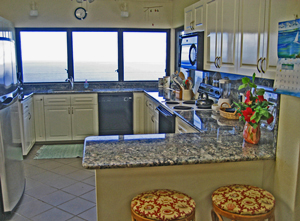 St John USVI Vacation Rental Soft Winds gourmet kitchen with granite counters and fantastic view