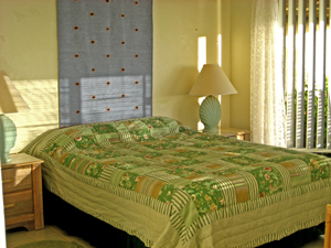 St John USVI Vacation Rental Soft Winds fourth bedroom with queen bed, private bath and private deck