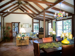 St John Rental Home Tree Tops spacious living room with high ceilings and tropical furnishings
