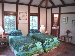 St John Rental Home Tree Tops upper guest bedroom with twin beds and private bath