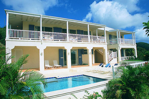 USVI St John rental villa Arco Iris pool overlooking Fish Bay
